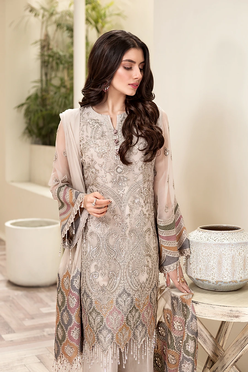 PEACH EMBROIDERED CHIFFON SUIT