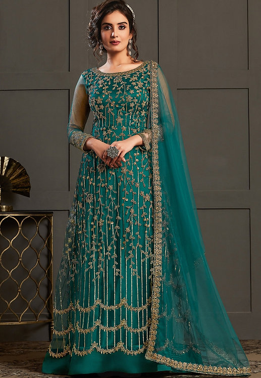 BLUE NET EMBROIDERED LONG ABAYA SUIT