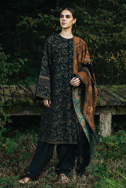 BLACK EMBROIDERED LINEN WINTER LUXURY SUIT