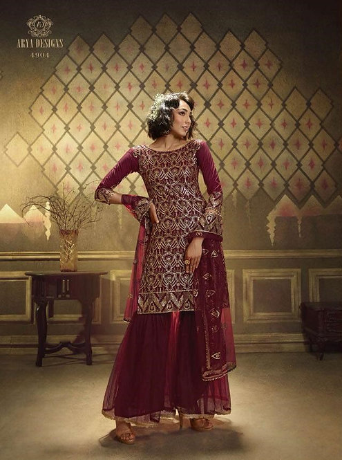 MAROON NET SEQUINS EMBROIDERED SUIT