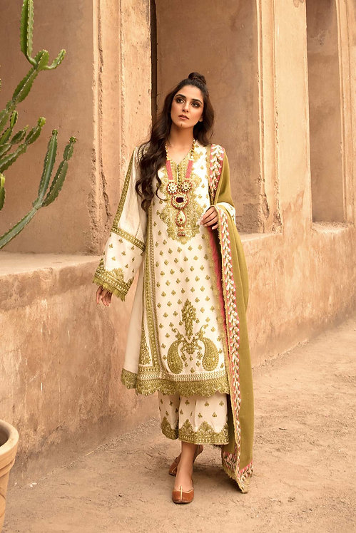 IVORY EMBROIDERED KARANDI WINTER SUIT