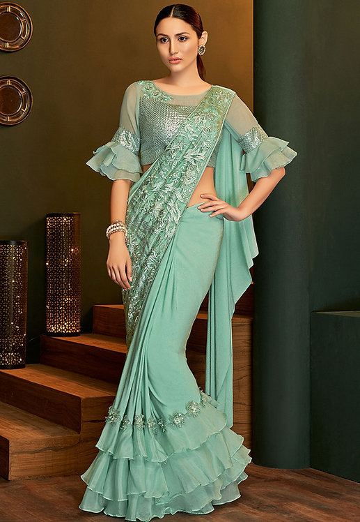 SEA GREEN LYCRA SILK EMBROIDERED DESIGNER SAREE
