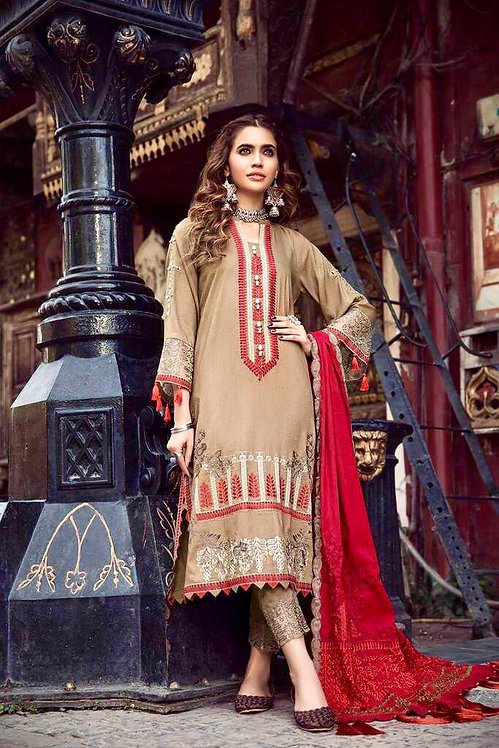 BEIGE EMBROIDERED LINEN PAKISTANI SALWAR SUIT