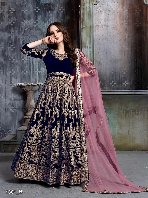 BLUE EMBROIDERED VELVET ANARKALI SUIT