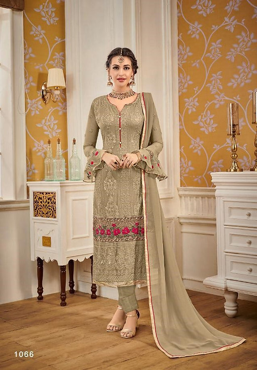 BEIGE FAUX GEORGETTE EMBROIDERED SALWAR SUIT