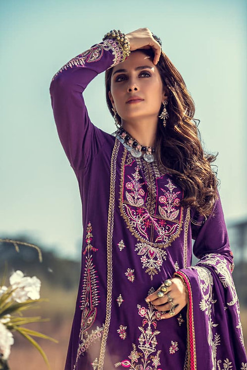 MULLBERY PURPLE EMBROIDERED & DYED LINEN DIGITAL PRINTED WINTER SUIT
