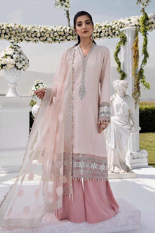 PINK EMBROIDERED COTTON SATIN SUIT