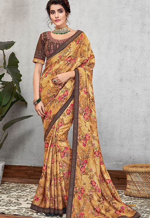 MUSTARD SILK GEORGETTE PRINTED EMBROIDERED SAREE