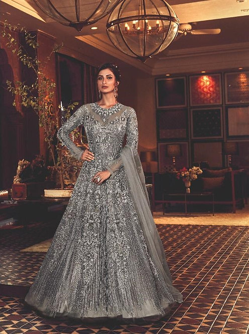 GREY NET EMBROIDERED FLOOR LENGTH LEHENGA ANARKALI SUIT