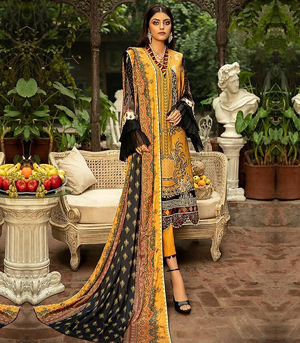 MUSTARD EMBROIDERED DYED DIGITAL PRINTED TROUSER SUIT