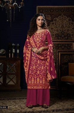 PINK PURE PASHMINA DIGITAL STYLE PRINT SUIT