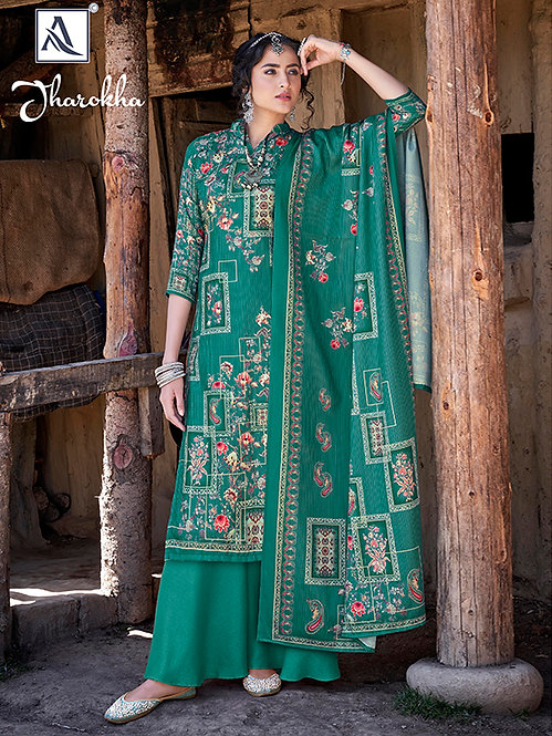 GREEN PURE WOOL PASHMINA DIGITAL PRINTED DRESS MATERIAL