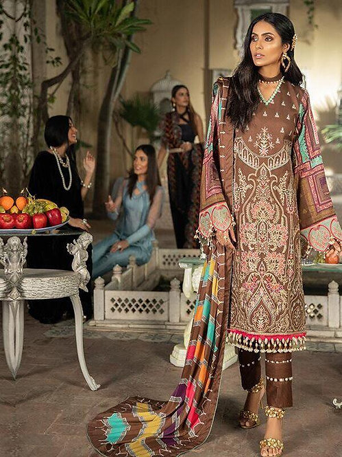 BROWN EMBROIDERED DYED DIGITAL PRINTED TROUSER SUIT