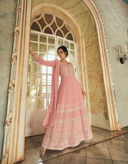PINK GEORGETTE LUCKNOWI ANARKALI SUIT