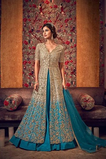 BEIGE & BLUE NET EMBROIDERED LEHENGA STYLE ANARKALI SUIT