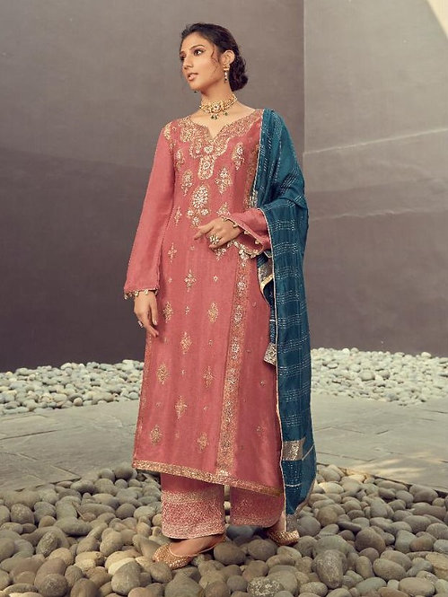 PINK EMBROIDERED SILK JACQUARD SUIT