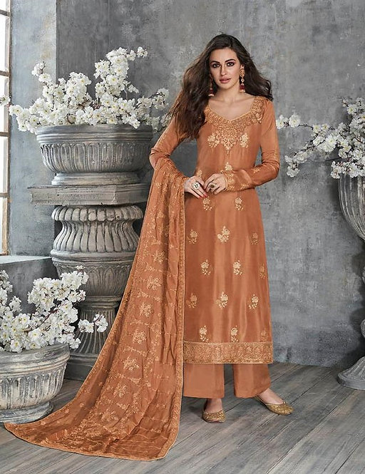 ORANGE EMBROIDERED SILK SUIT