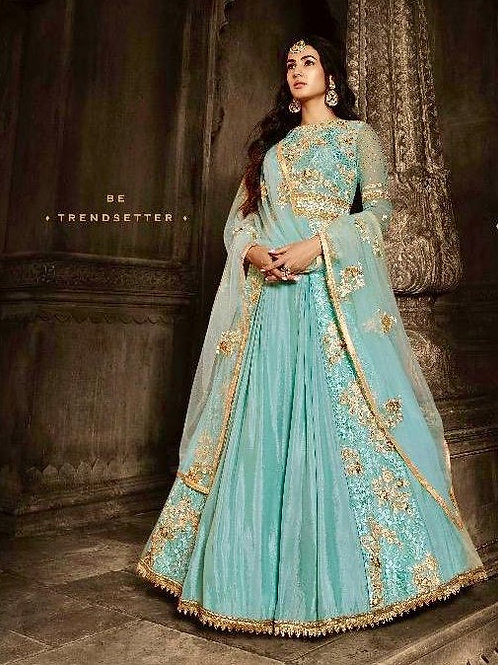 BLUE EMBROIDERED NET GEORGETTE ANARKALI SUIT