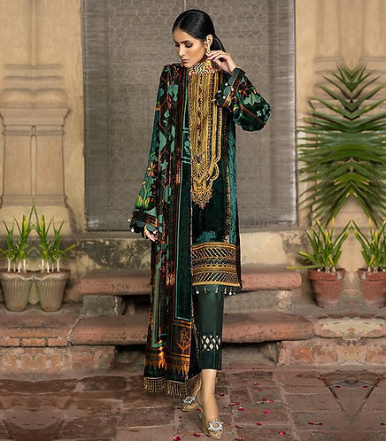 GREEN PALACHI VELVET EMBROIDERED DYED RAW SILK TROUSER SUIT