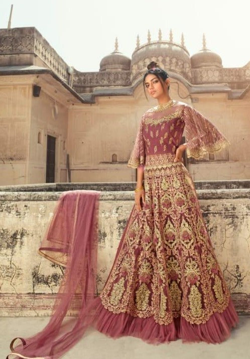 ONION PINK NET EMBROIDERED LEHENGA AND PANT STYLE SUIT