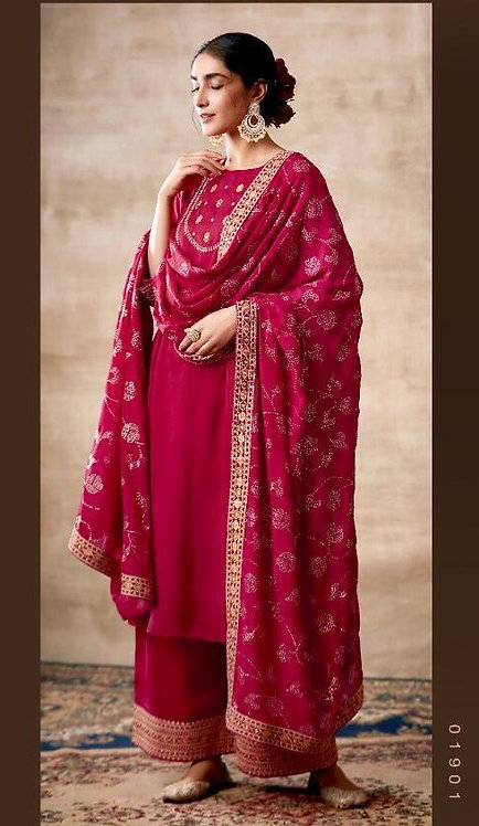 PINK EMBROIDERED TUSSER SILK SUIT