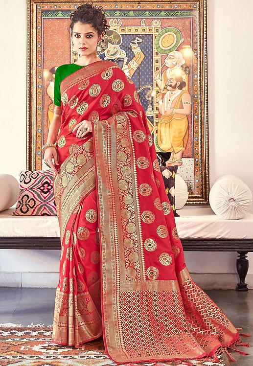 RED & GREEN ART SILK TRADITIONAL SAREE