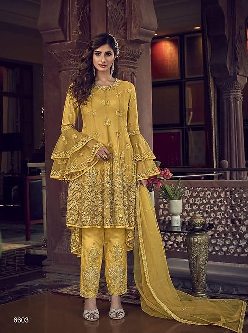 YELLOW NET EMBROIDERED PAKISTANI TROUSER SUIT