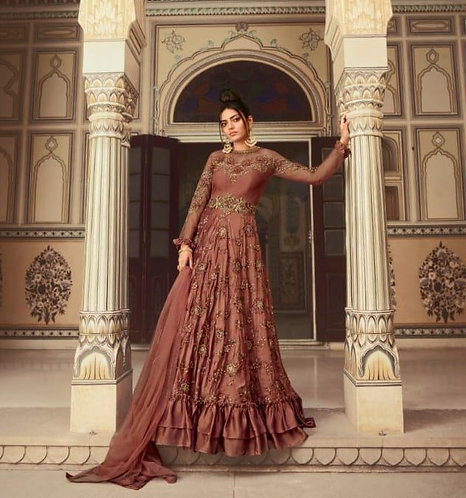 RUST NET EMBROIDERED GOWN STYLE SUIT