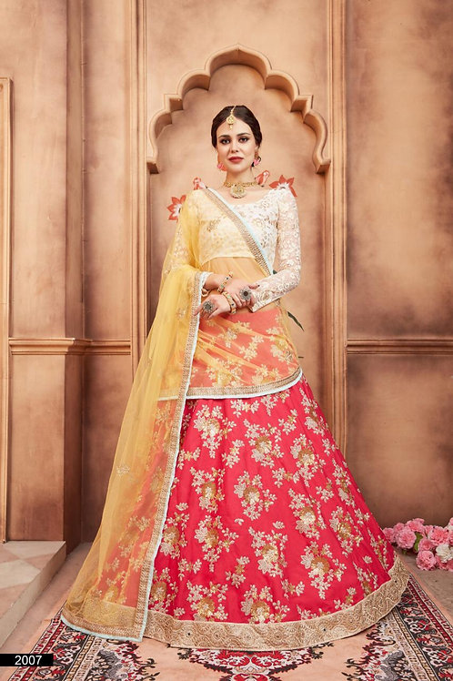 PINK TAFETTA SILK THREAD SEQUINS AND ZARI WORK LEHENGA
