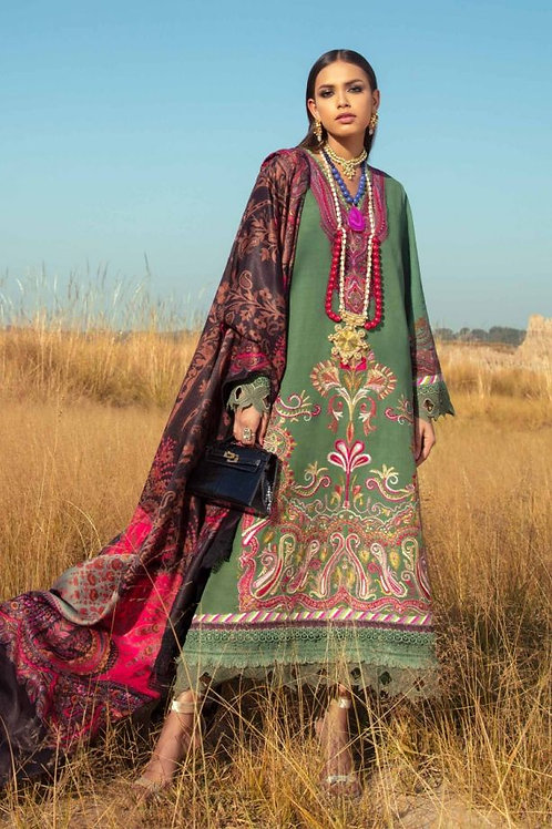 GREEN & PINK SLUB EMBROIDERED WINTER LUXURY SUIT