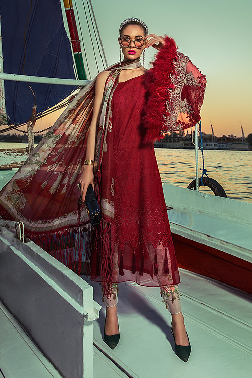 MAROON EMBROIDERED CHIFFON LAWN SUIT