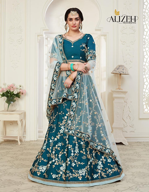 PEACOCK BLUE EMBROIDERED MULBERRY SILK LEHENGA