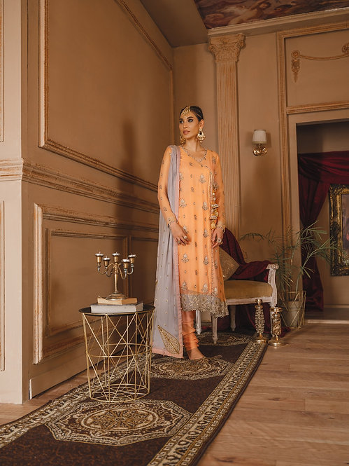 PEACH EMBROIDERED CHIFFON ANGRAKHA DYED RAW SILK SUIT