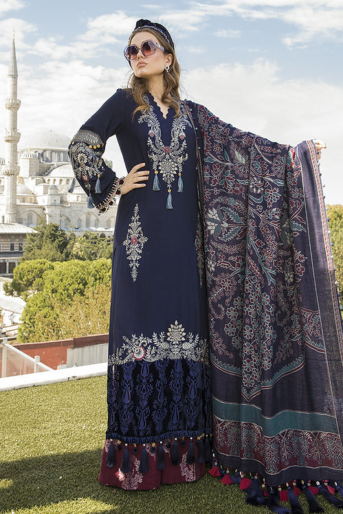 NAVY BLUE LINEN VELVET ORGANZA JACQUARD EMBROIDERED WINTER SUIT