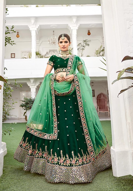 GREEN HEAVY SEQUENCE & CODING EMBROIDERED MIRROR SILK LEHENGA