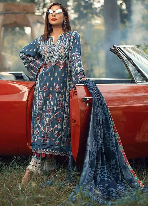 TRIBAL BLUE EMBROIDERED & SHEESHA KHADDAR WINTER SUIT