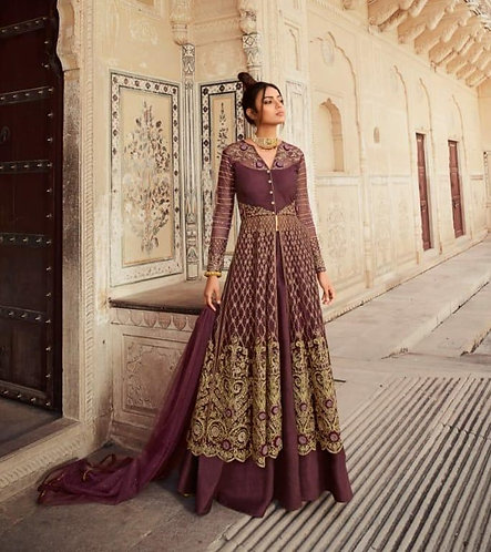 WINE NET EMBROIDERED LEHENGA AND PANT STYLE SUIT