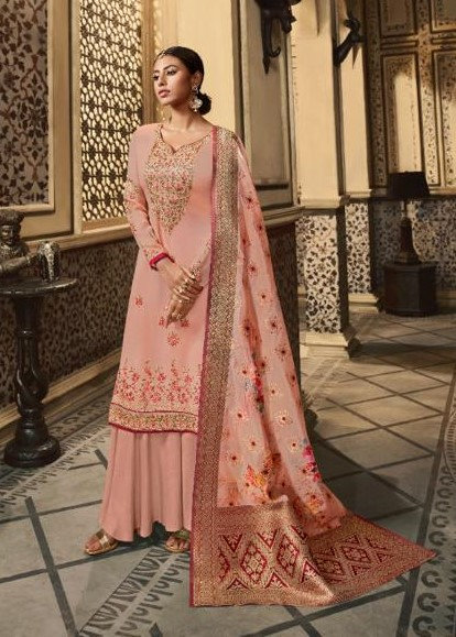 PINK SATIN GEORGETTE JACQUARD & DIGITAL PRINTED SUIT