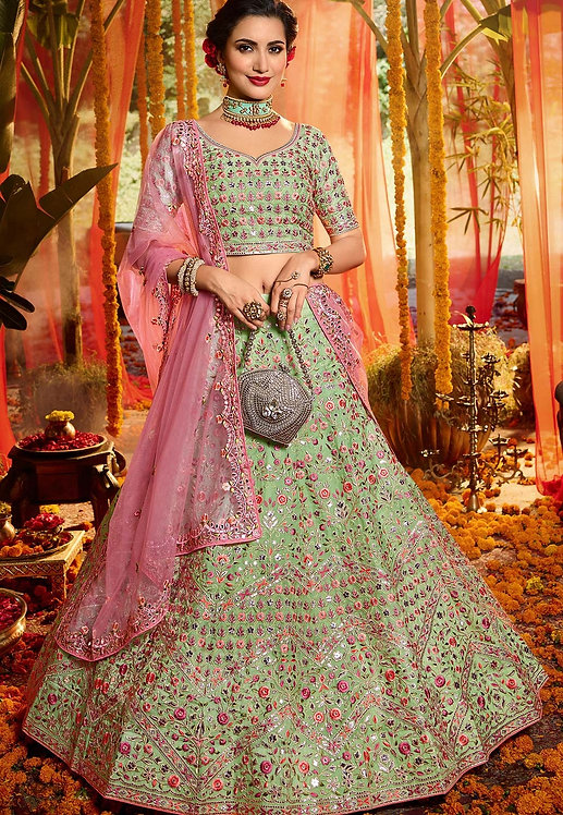 GREEN ORGANZA EMBROIDERED A-LINE WEDDING LEHENGA CHOLI