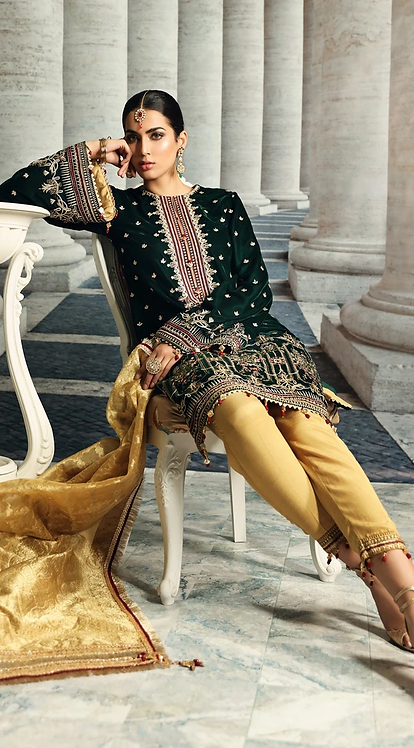 EMERALD GREEN EMBROIDERED VELVET SUIT