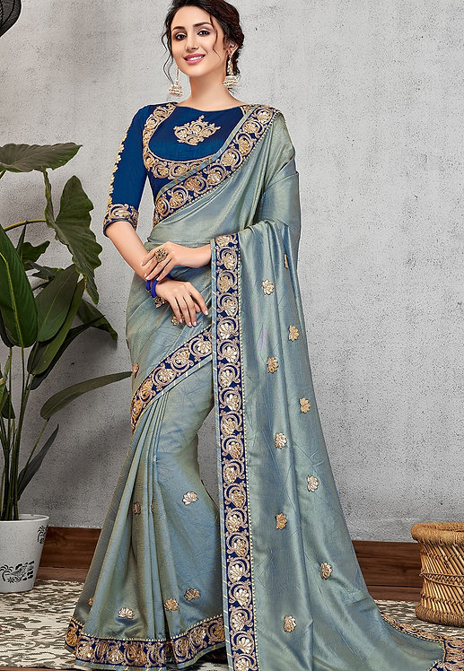 BLUE DUAL TONE SILK EMBROIDERED SANGEET SAREE