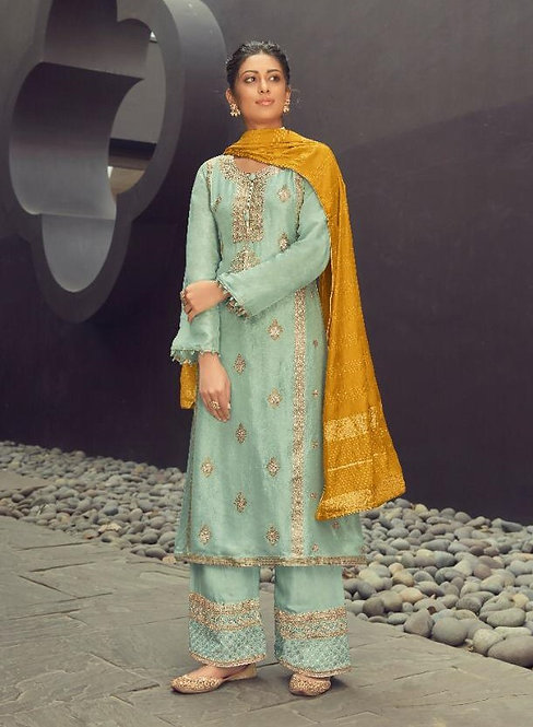 BLUE EMBROIDERED SILK JACQUARD SUIT