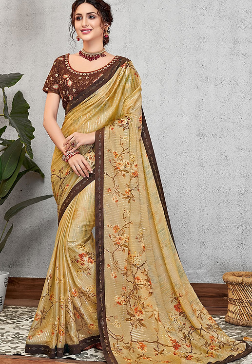 YELLOW SILK GEORGETTE PRINTED EMBROIDERED SAREE