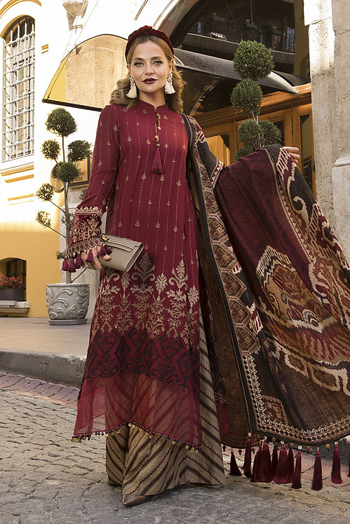 MAROON & BEIGE VELVET LINEN EMBROIDERED WINTER SUIT