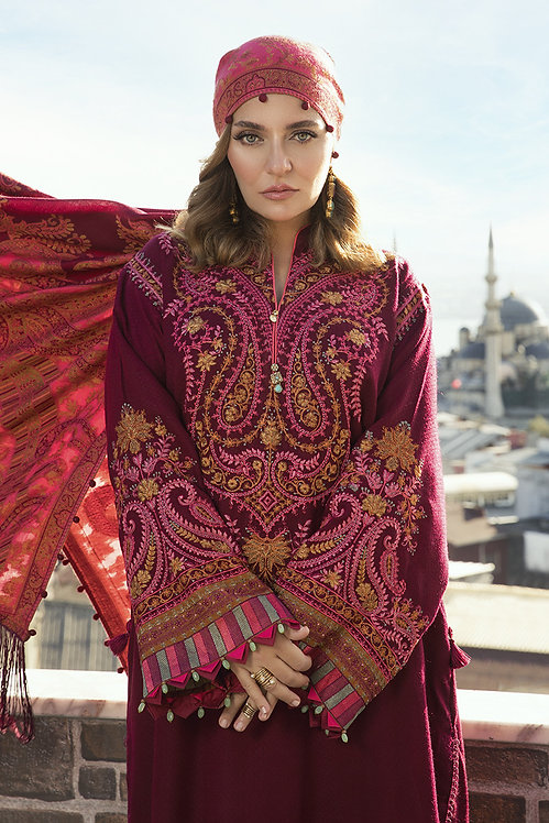 DEEP PINK EMBROIDERED LINEN WINTER SUIT