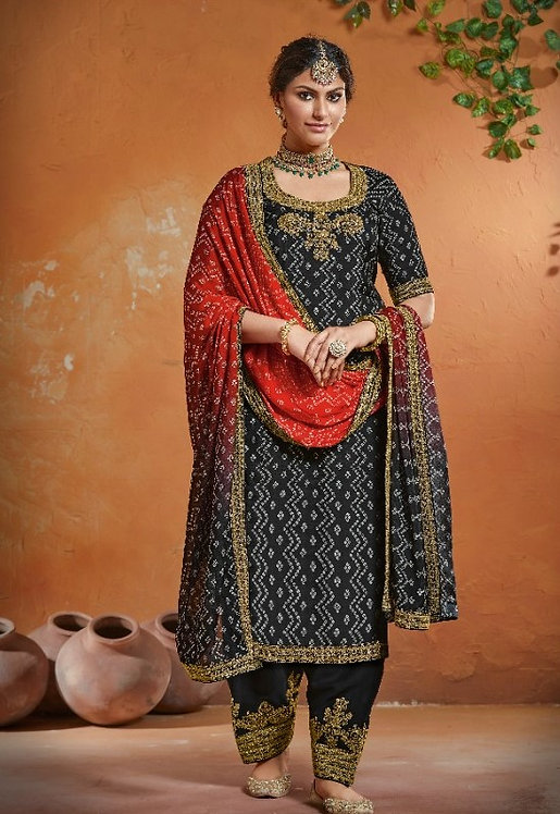GREY RED EMBROIDERED TUSSER SILK SUIT
