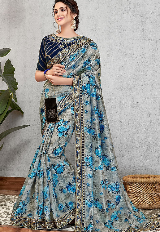 OCCASIONAL BLUE SILK PRINTED EMBROIDERED SAREE