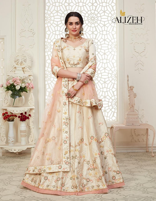 CREAM EMBROIDERED MULBERRY SILK LEHENGA