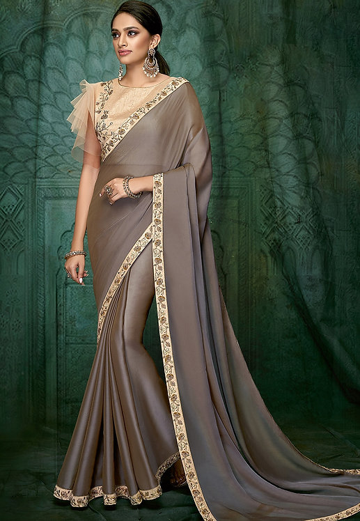 MOUSE GREY DUAL TONE SILK GEORGETTE DESIGNER SAREE