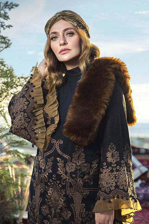 BLACK & BROWN LINEN EMBROIDERED WINTER SUIT
